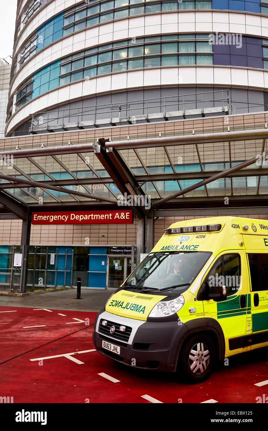 NHS Ambulances wait outside the QE Hospital Birmingham Accident and