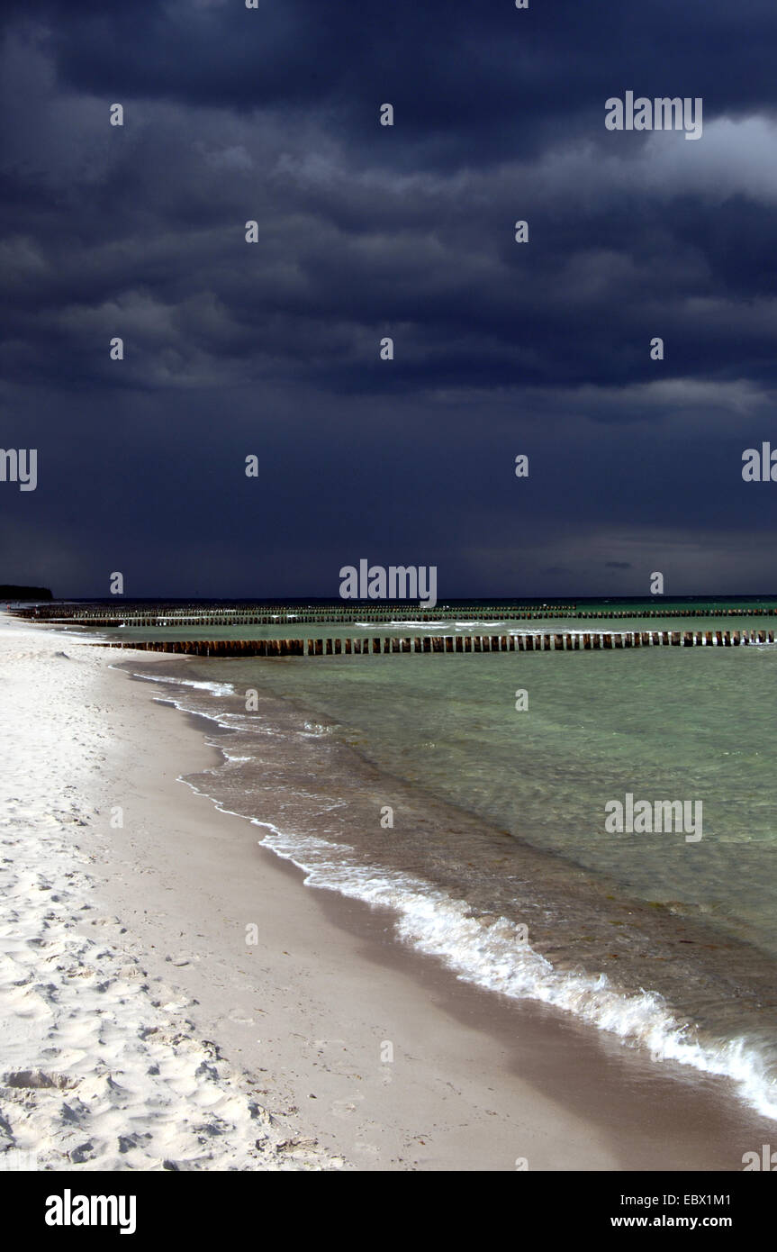 black clouds over sandy beach, Germany, Mecklenburg-Western Pomerania, Darss - Stock Image
