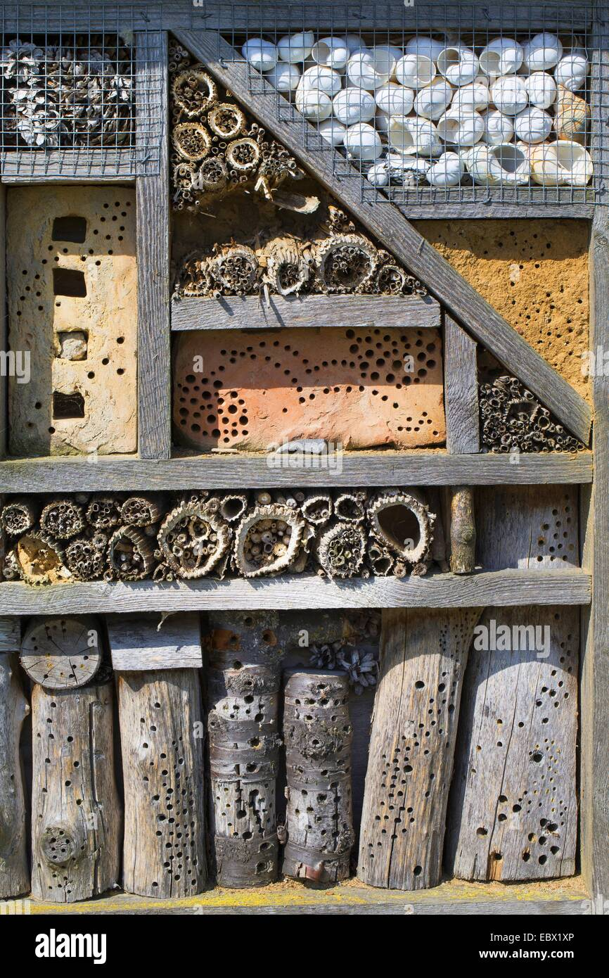 insect hotel made from reed stems, pieces of wood with bore holes, stones with Bore holes and clay, Germany - Stock Image