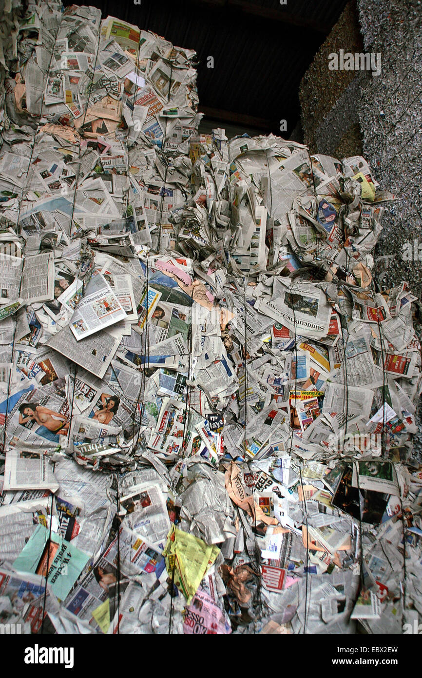waste paper recycling - Stock Image