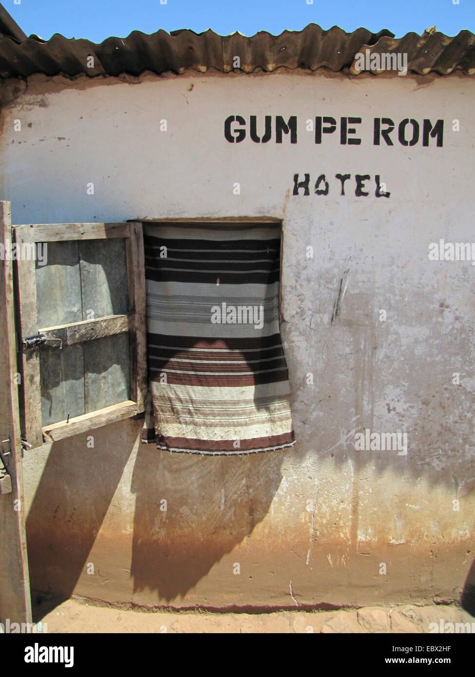 simple hotel at a refugee camp for internally displaced people in northern Uganda around Gulu, Uganda, Gulu - Stock Image