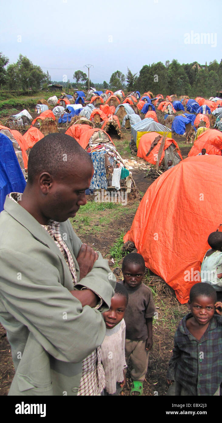 August 2009: refugees at the camp on the outskirts of Goma for Rwandan refugees who have remained here since the - Stock Image