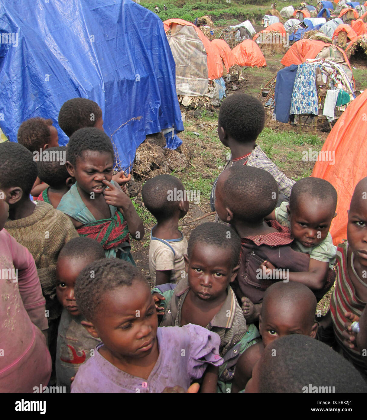 August 2009: children at the refugee camp on the outskirts of Goma for Rwandan refugees who have remained here since - Stock Image