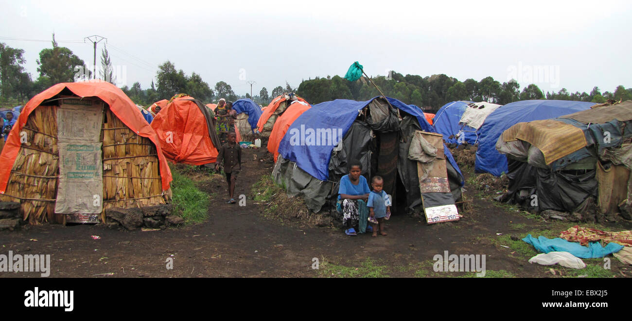 August 2009: refugee camp on the outskirts of Goma for Rwandan refugees who have remained here since the 1994 genocide - Stock Image