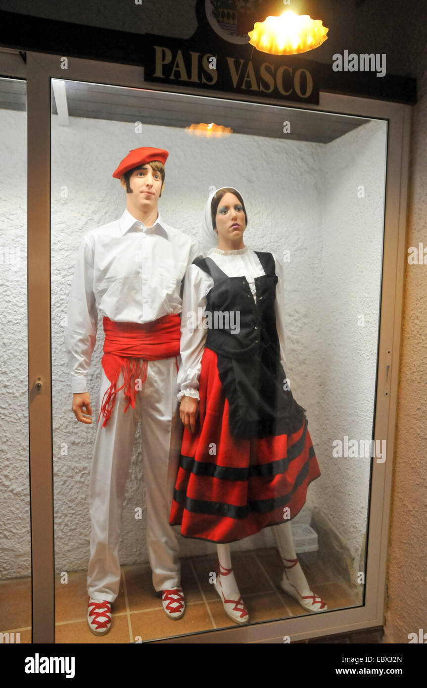 Display of traditional Spanish clothes from Pais Vasco - Stock Image