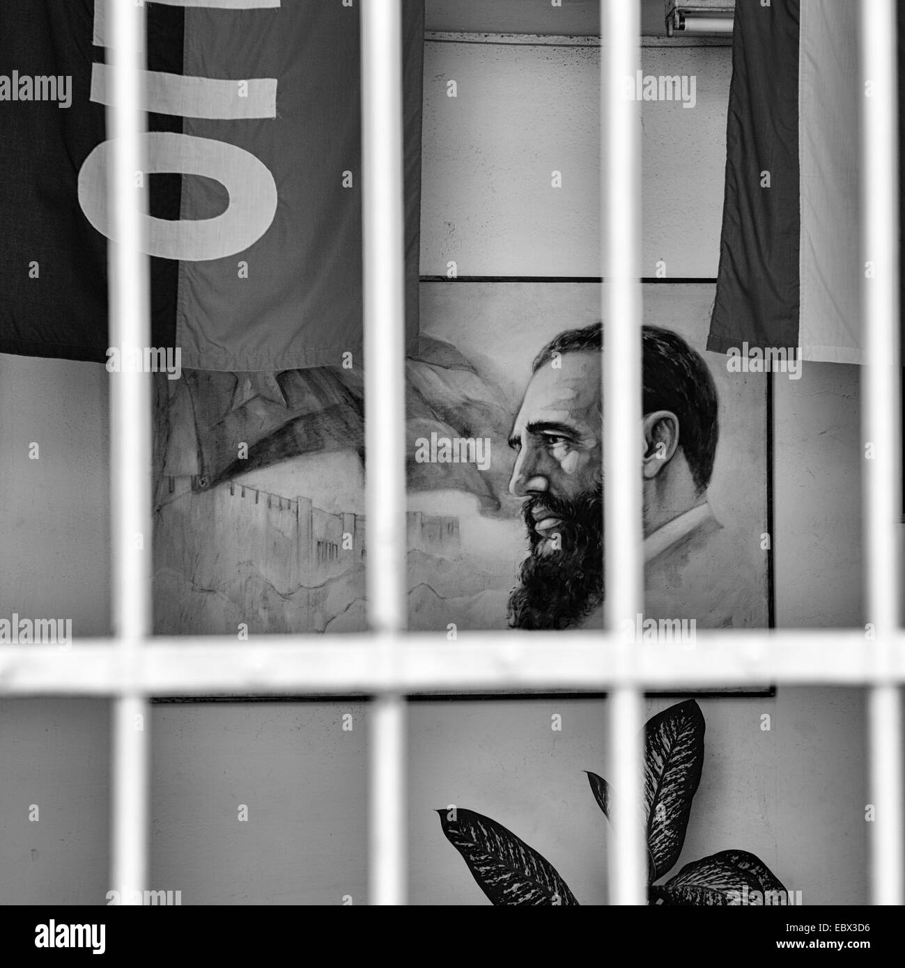 A portrait of Fidel Castro inside a government building in Cienfuegos, Cuba. - Stock Image