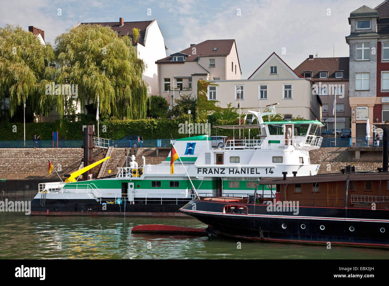 the ships Oscar Huber and Franz Haniel in the district Ruhrort, Germany, North Rhine-Westphalia, Ruhr Area, Duisburg Stock Photo