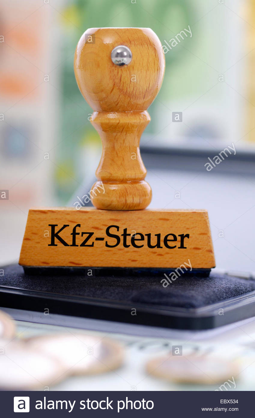 stamp with title KFZ-Steuer, car tax - Stock Image