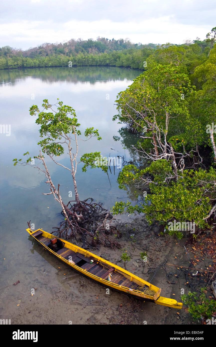 fishingboat in mangroves, India, Andaman Islands, South Andaman - Stock Image