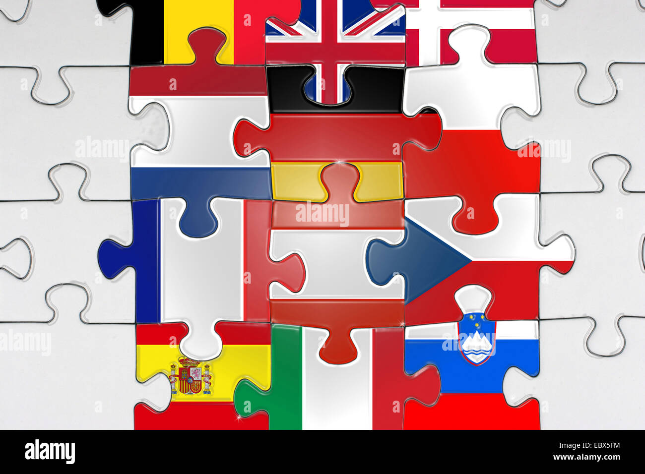 Jigsaw with flags of EU - Stock Image