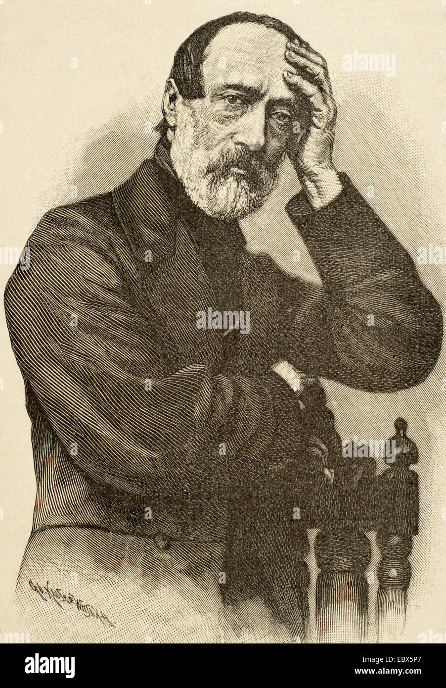 Giuseppe Mazzini (1805-1872). Italian politician, activist for the unification of Italy. Engraving by Klose. Historia - Stock Image
