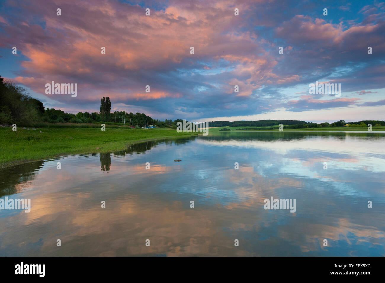 dawning over a storage lake, Germany, Saxony, Vogtlaendische Schweiz - Stock Image