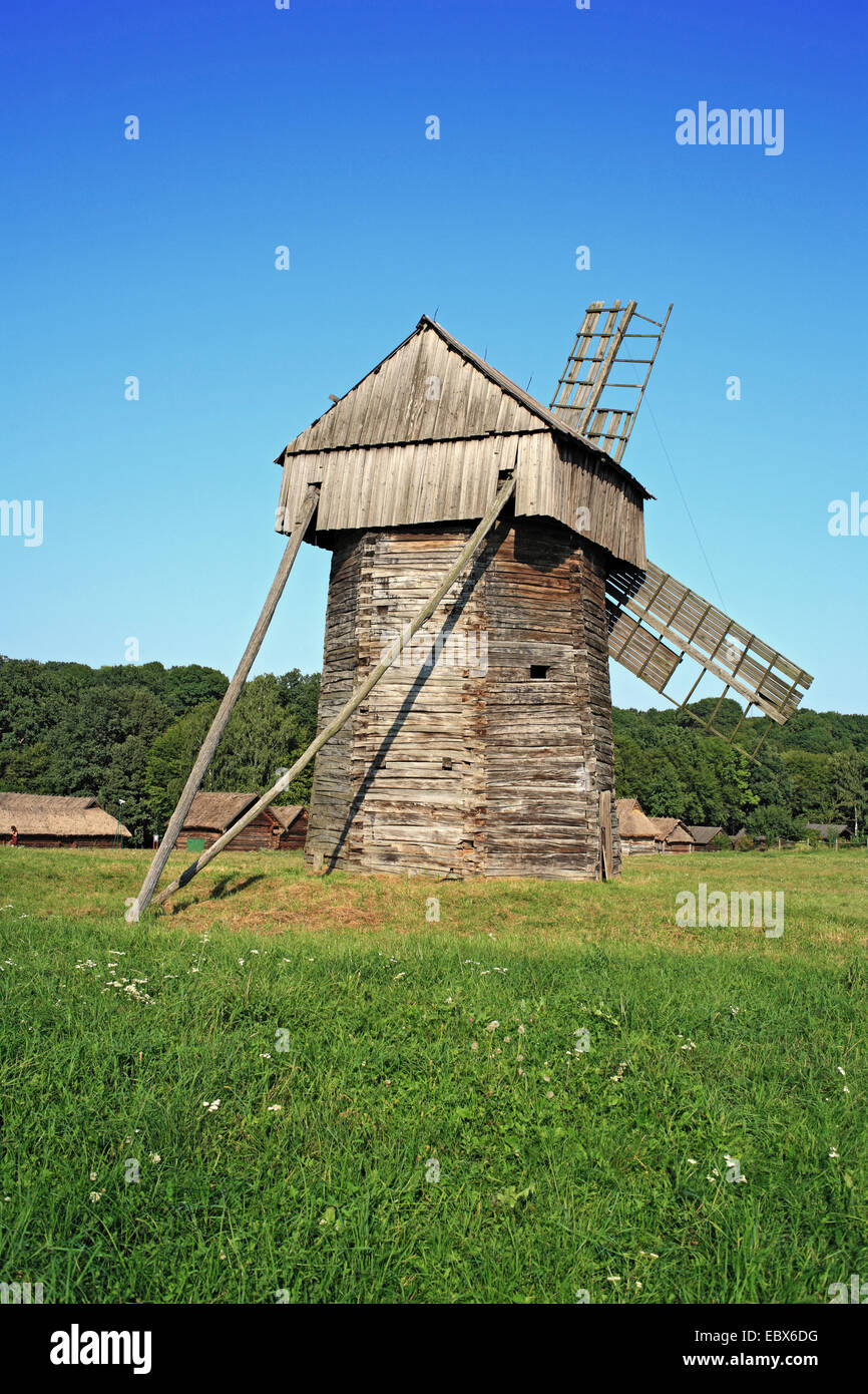 Wooden windmill, Pirogovo (Pyrohiv), Open air museum of national architecture, near Kiev, Ukraine - Stock Image