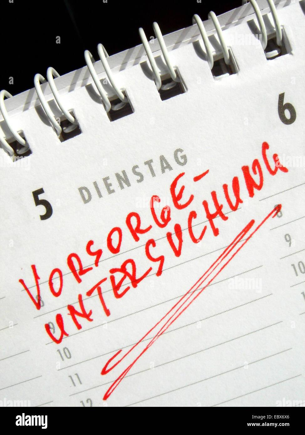 Preventive medical examination - calendar entry - Stock Image