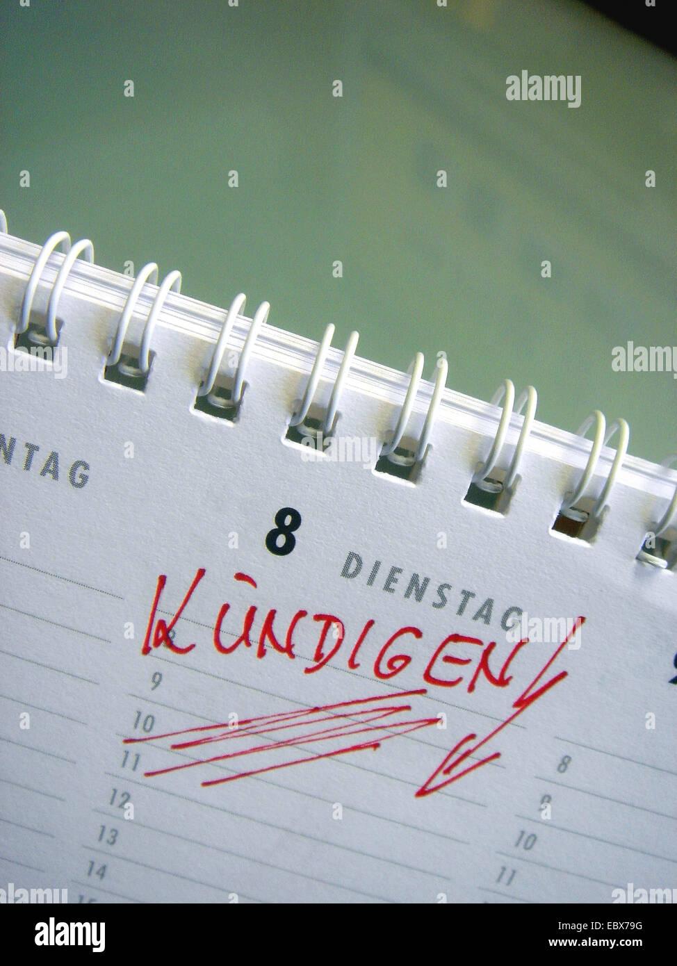 cancel - calendar entry - Stock Image