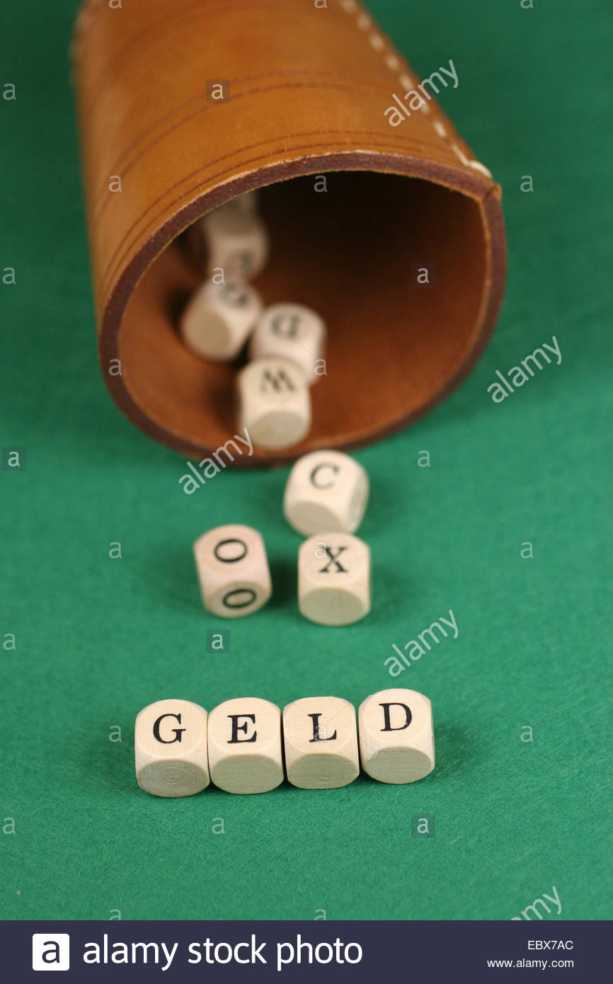 'Geld' set by letter dice - Stock Image