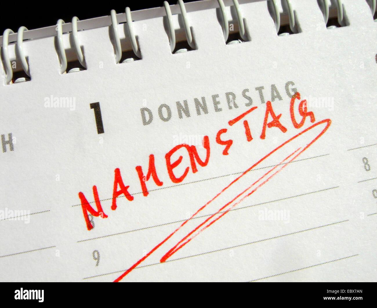 Name day - calendar entry - Stock Image