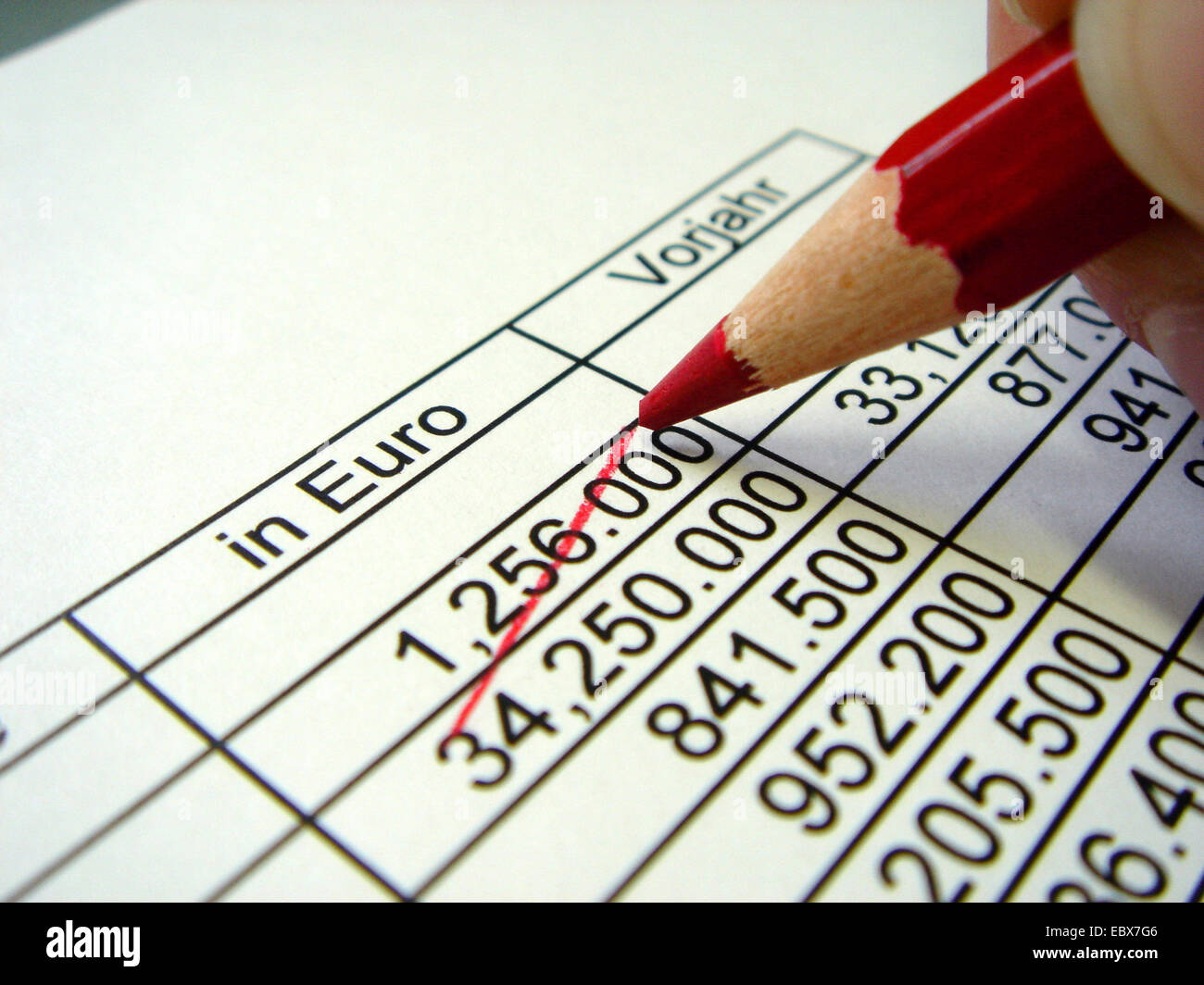 striking out a value on a balance sheet with a red pencil - Stock Image