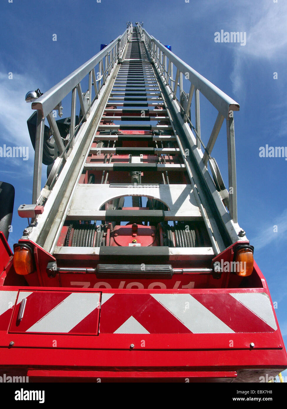 turntable ladder rise up to the sky - Stock Image