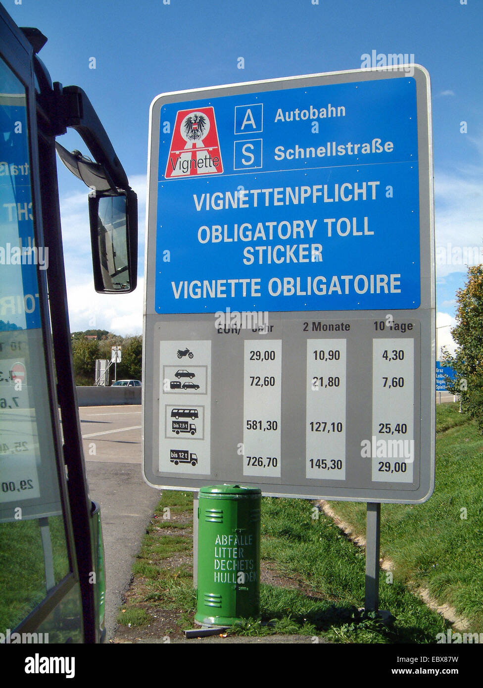 toll on Austrian motorways, information sign with costs - Stock Image