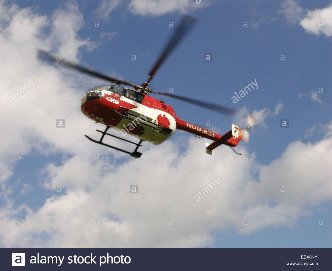 rescue helicopter from below - Stock Image