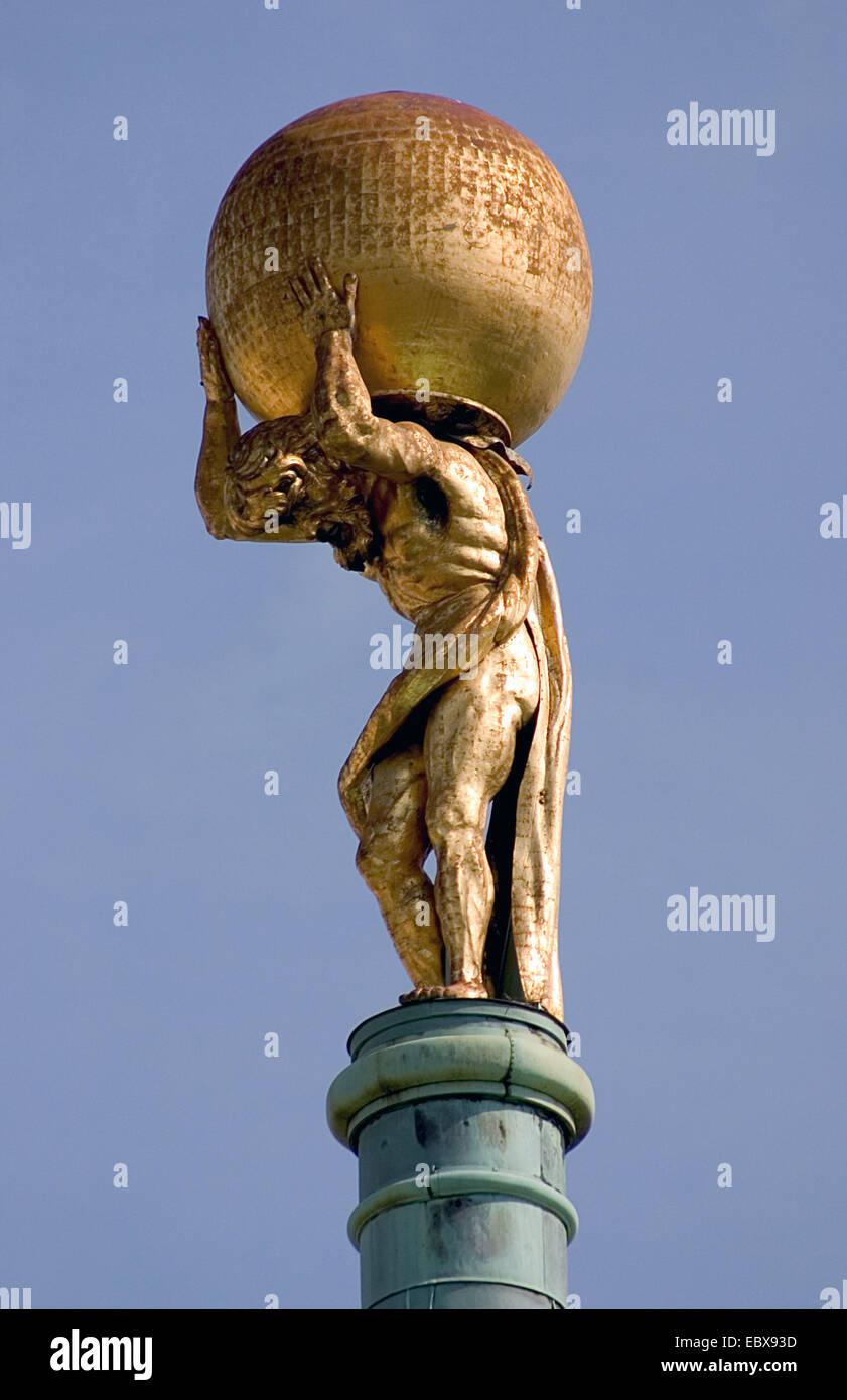 Atlas on the old guildhall; cityhall, Germany, Brandenburg, Potsdam Stock Photo