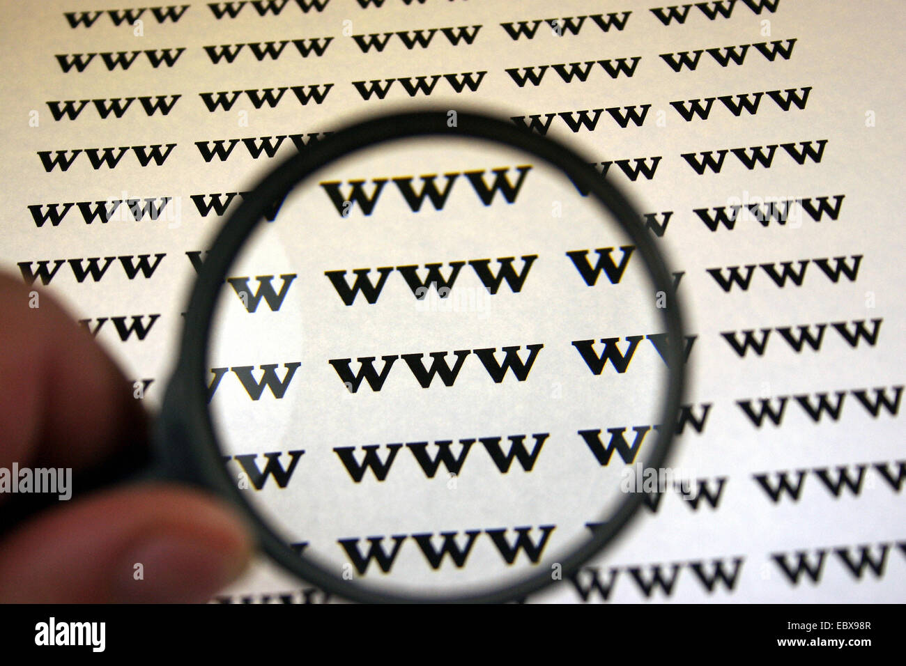 internet search, www under the magnifying glass - Stock Image