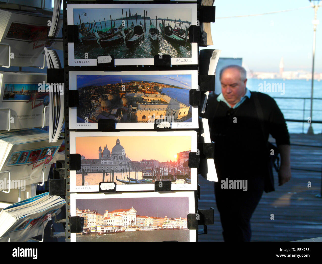 Lido di Venezia, souvenir booth with postcards, Italy, Venice - Stock Image