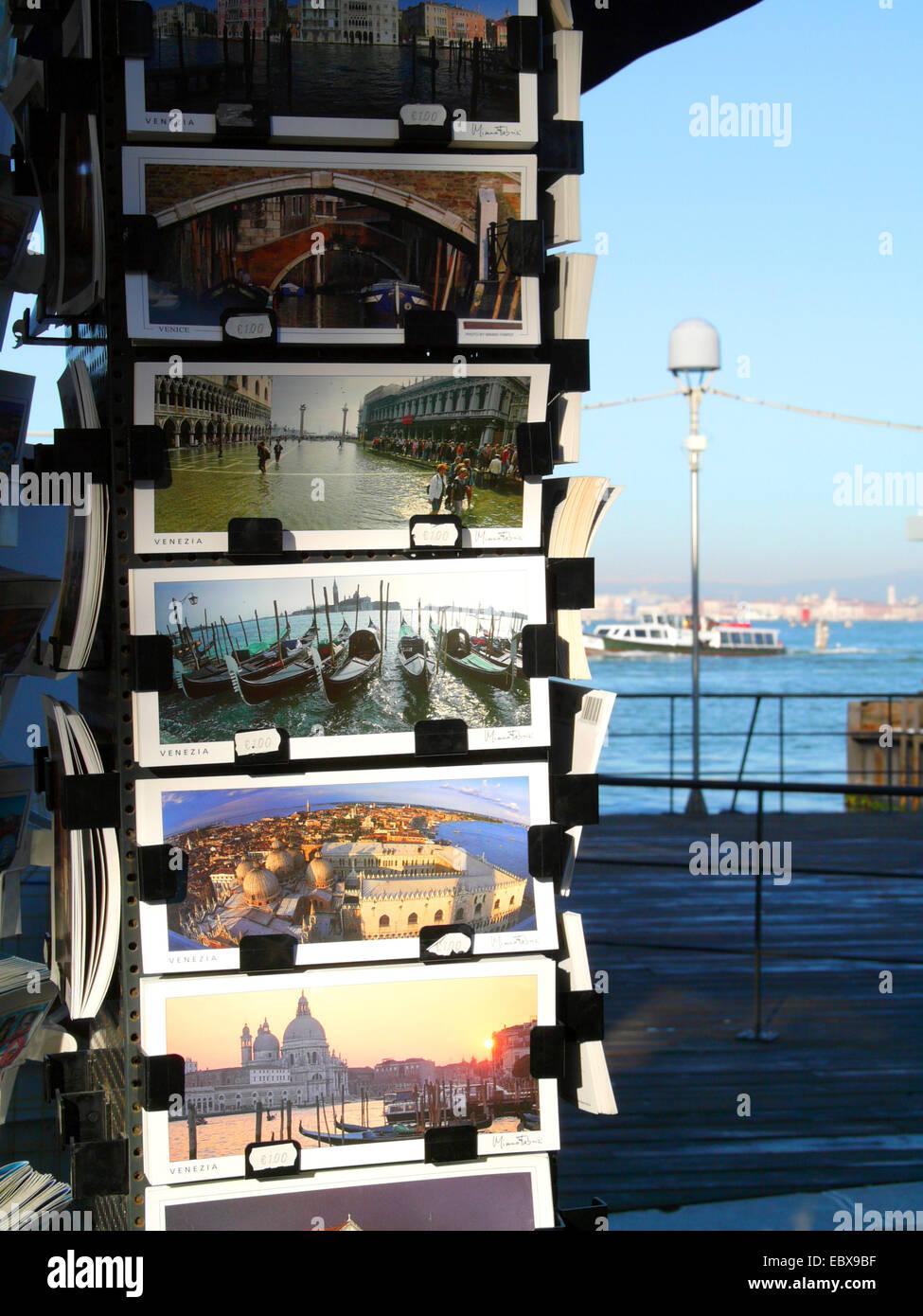 Lido di Venezia, souvenir booth with postcards, Italy, Venice - Stock Image