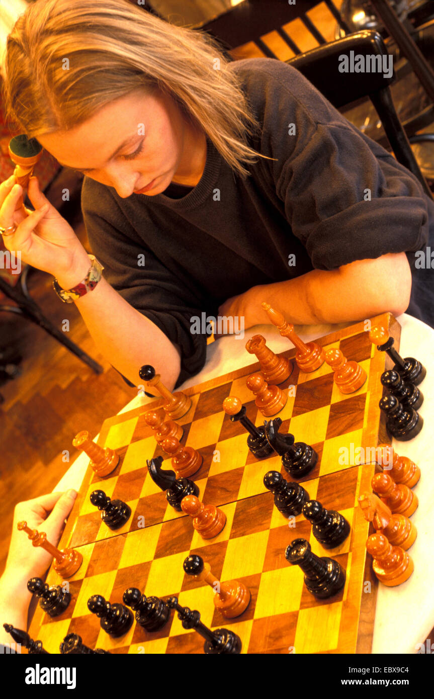 female chessplayer in the Cafe Sperl, Austria, Vienna - Stock Image