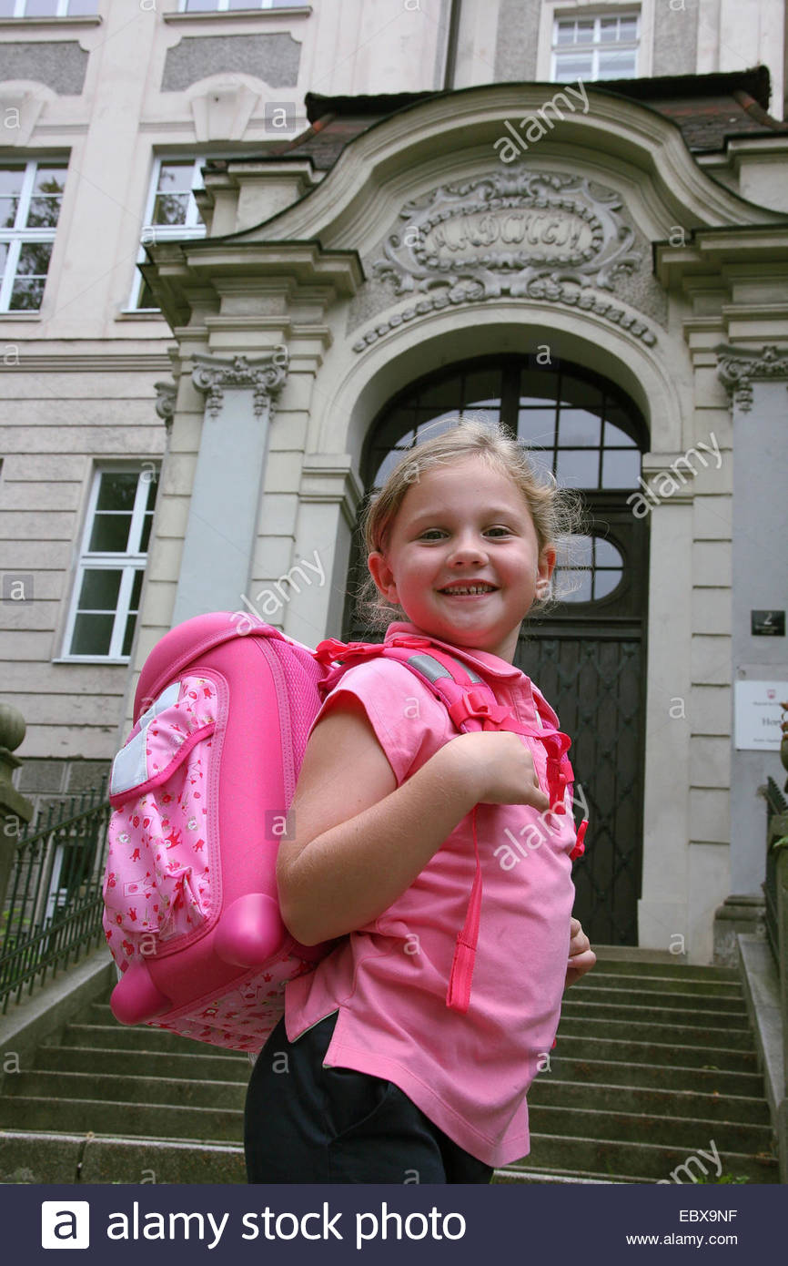 Little girl goes to school Stock Photo