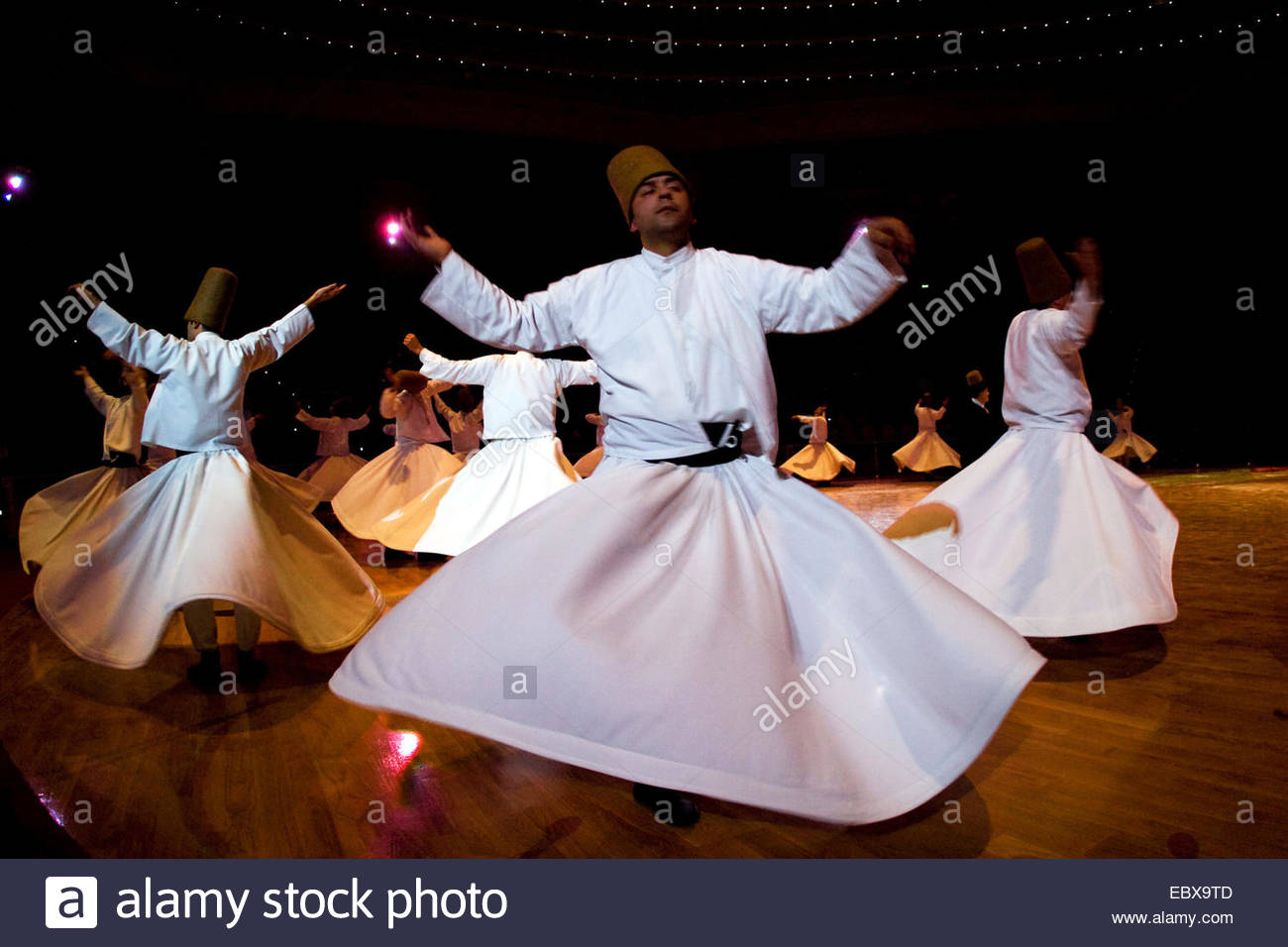 the whirling dervishes in Konya during the Mevlana Festival, Turkey - Stock Image