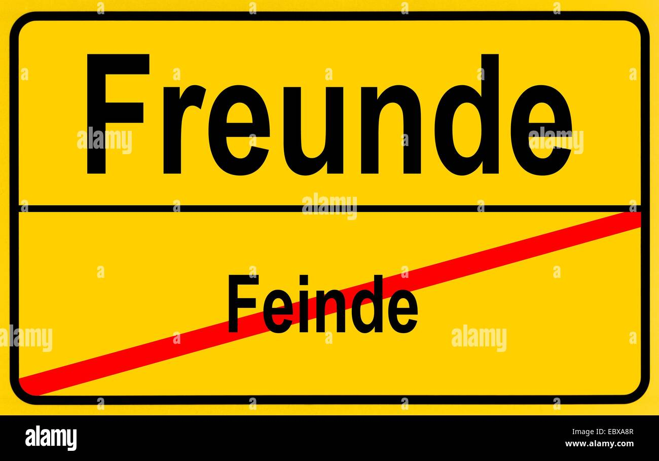 ciy sign Feinde - Freunde, enemies - friends, Germany - Stock Image