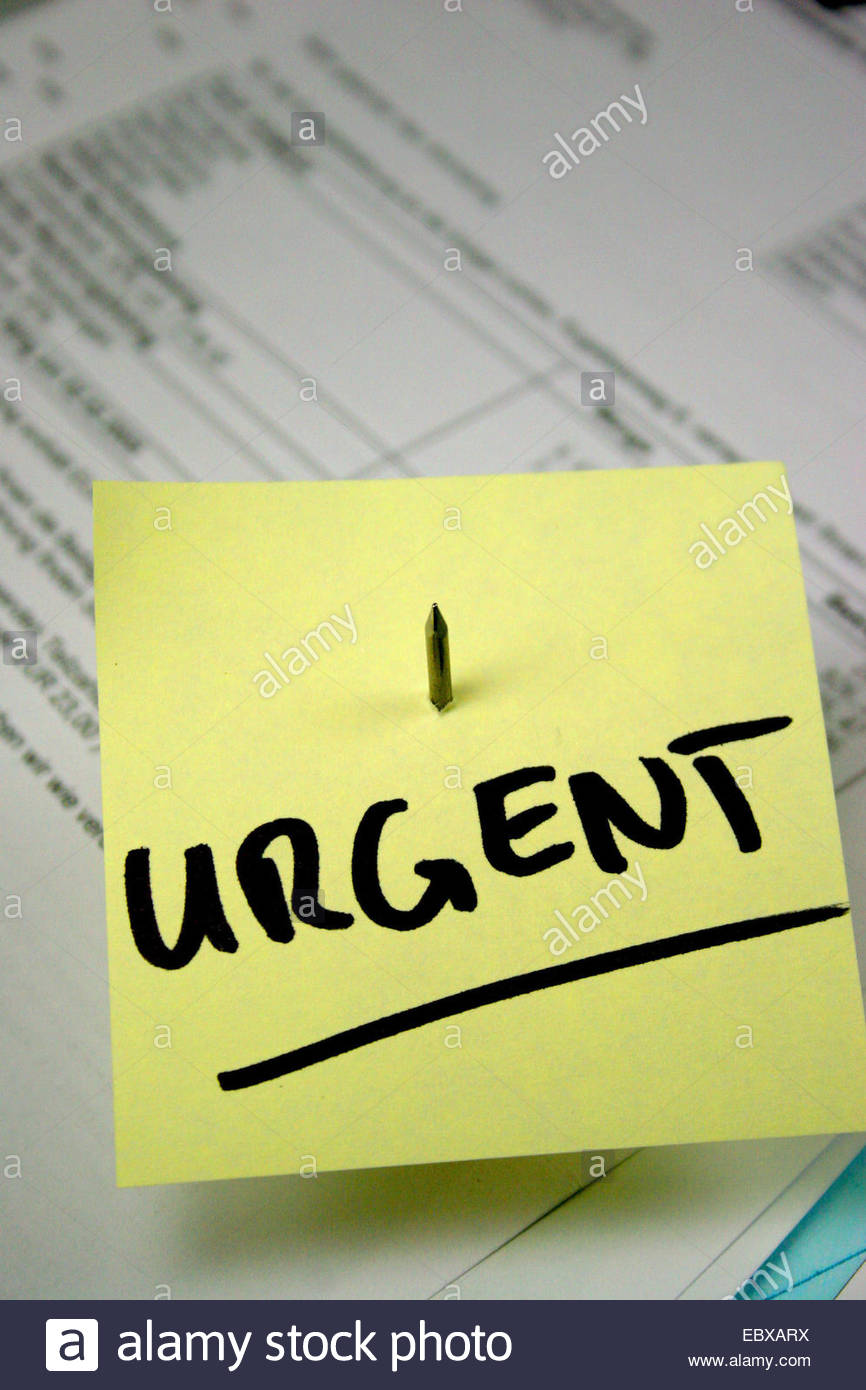 memo with 'urgent' label - Stock Image