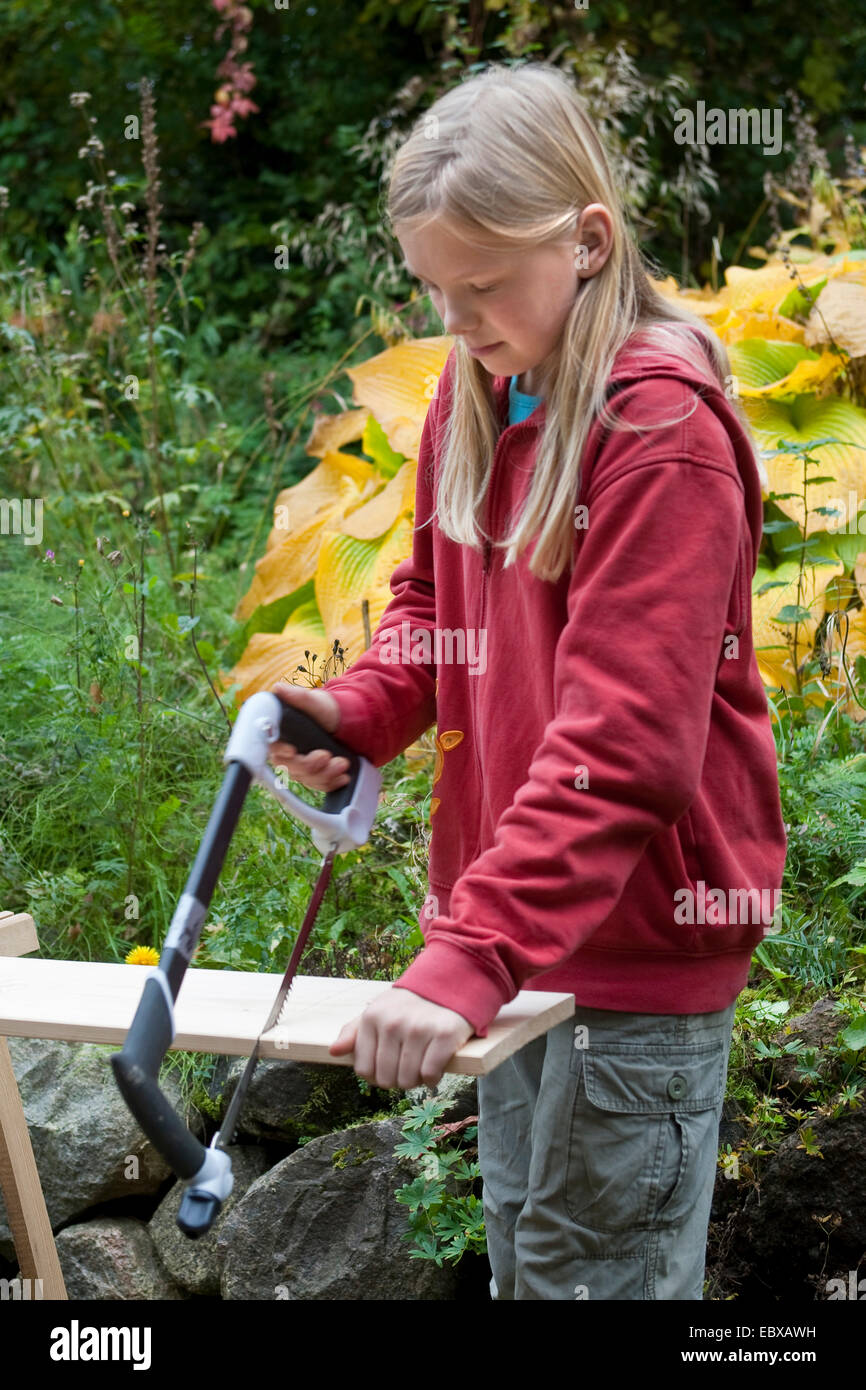 building a nest box. Girl sawing the planks - Stock Image
