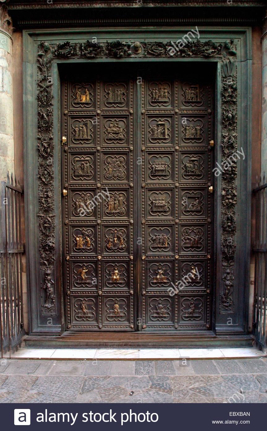 The Battistero gilded bronze doors, Italy, Tuscany, Florence - Stock Image