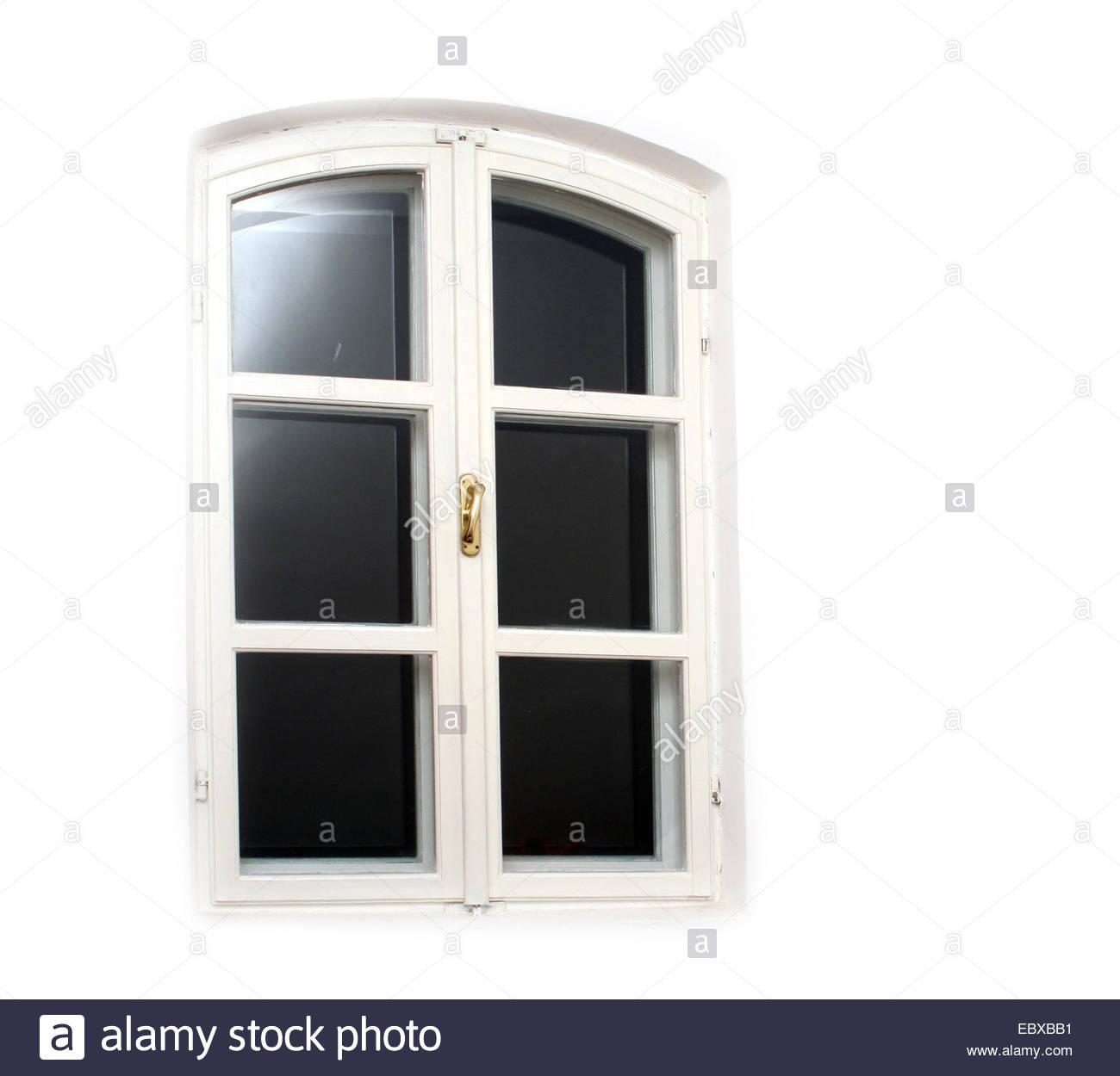 Closed white window - Stock Image