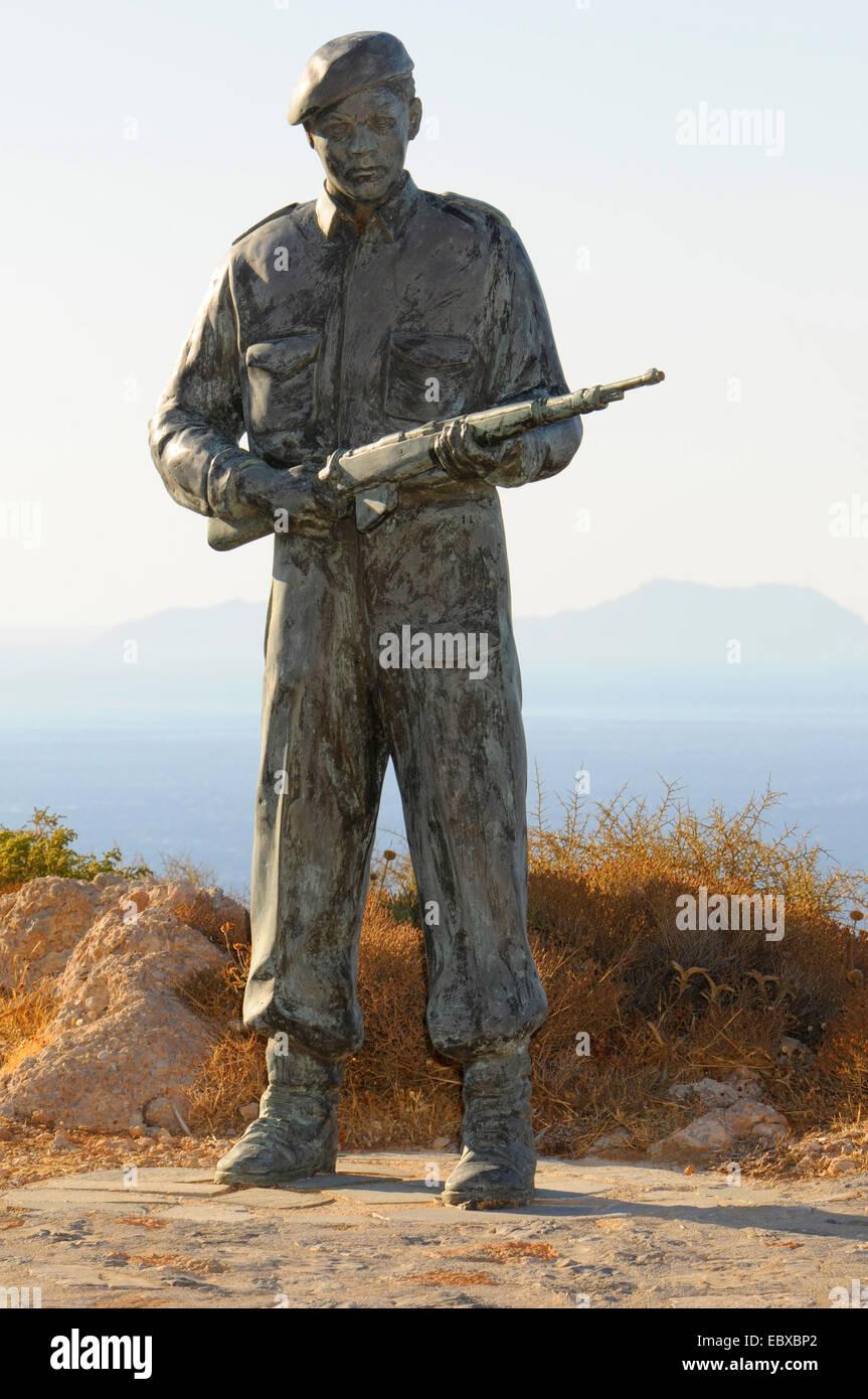 statue of the soldier killed in action, Priveli monastery, Greece, Creta - Stock Image