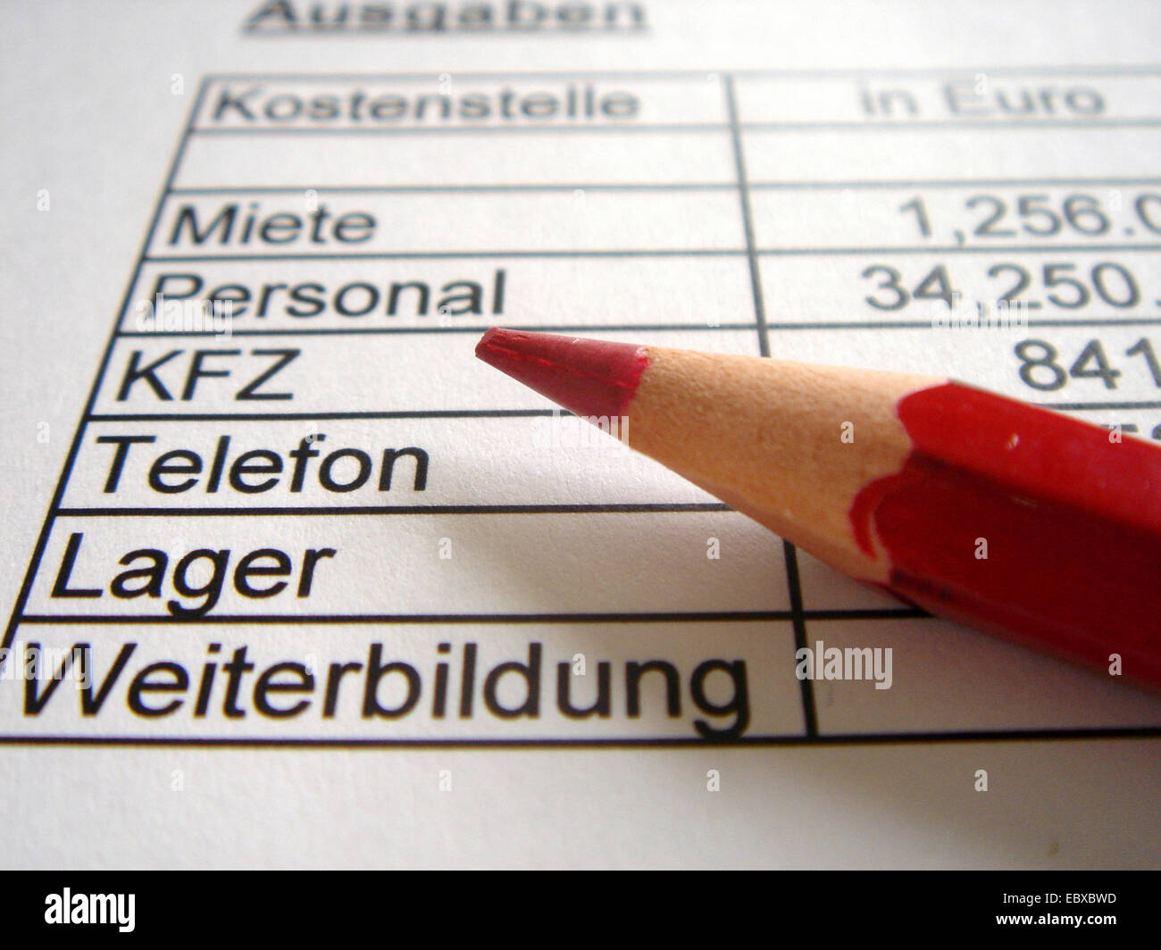 red pencil lying on a balance sheet of firm expenses - Stock Image