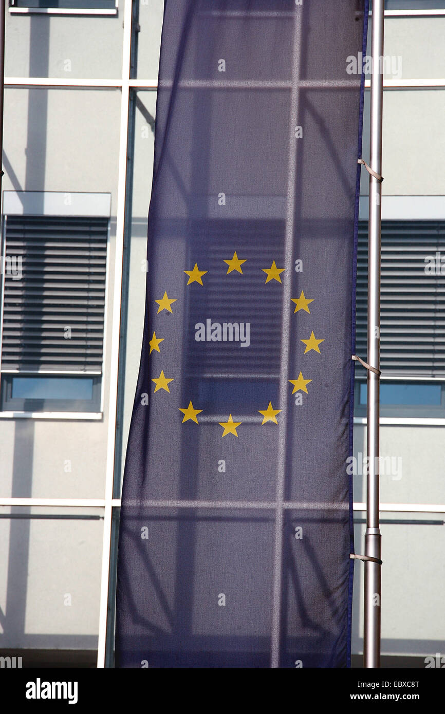 European Union flag at a building - Stock Image