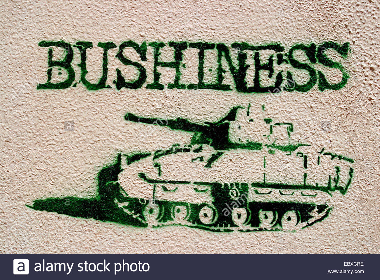 tank with catchword 'Bushiness', stencil graffiti - Stock Image