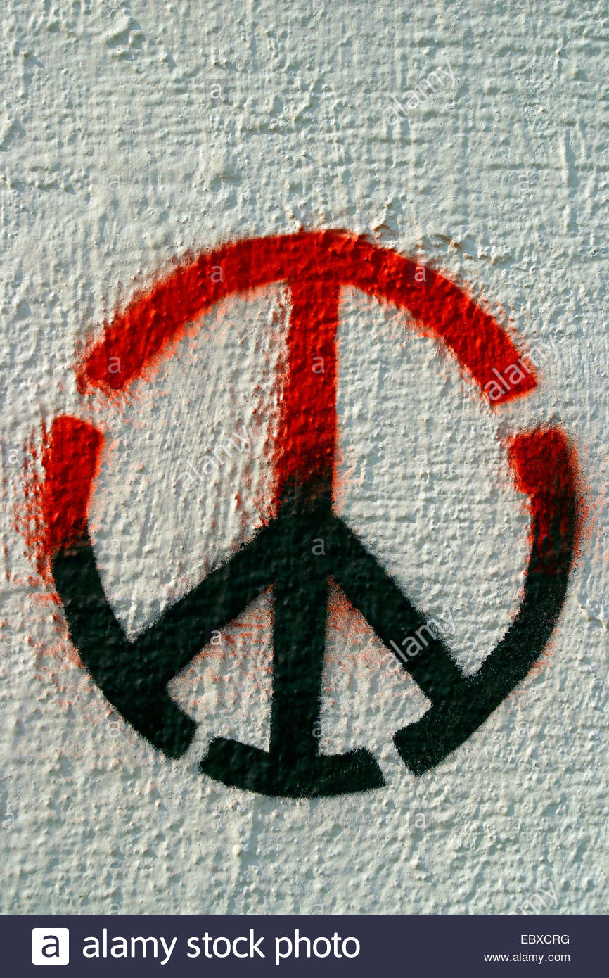 peace sign, stencil Graffiti Art - Stock Image