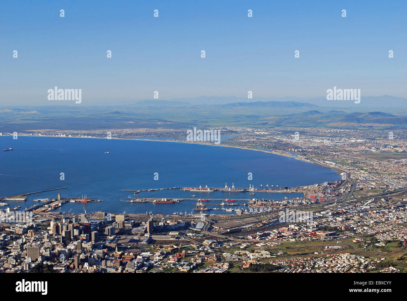 view from the Table Mountain onto Cape Town, Viktoria and Alfred Waterfront, South Africa, Capetown Stock Photo