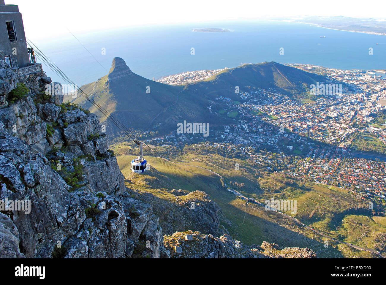 view from the Table Mountain onto Signal Hill, South Africa, Capetown - Stock Image