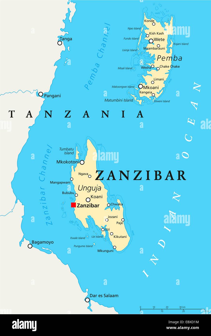 Zanzibar Political Map Stock Photo - Alamy
