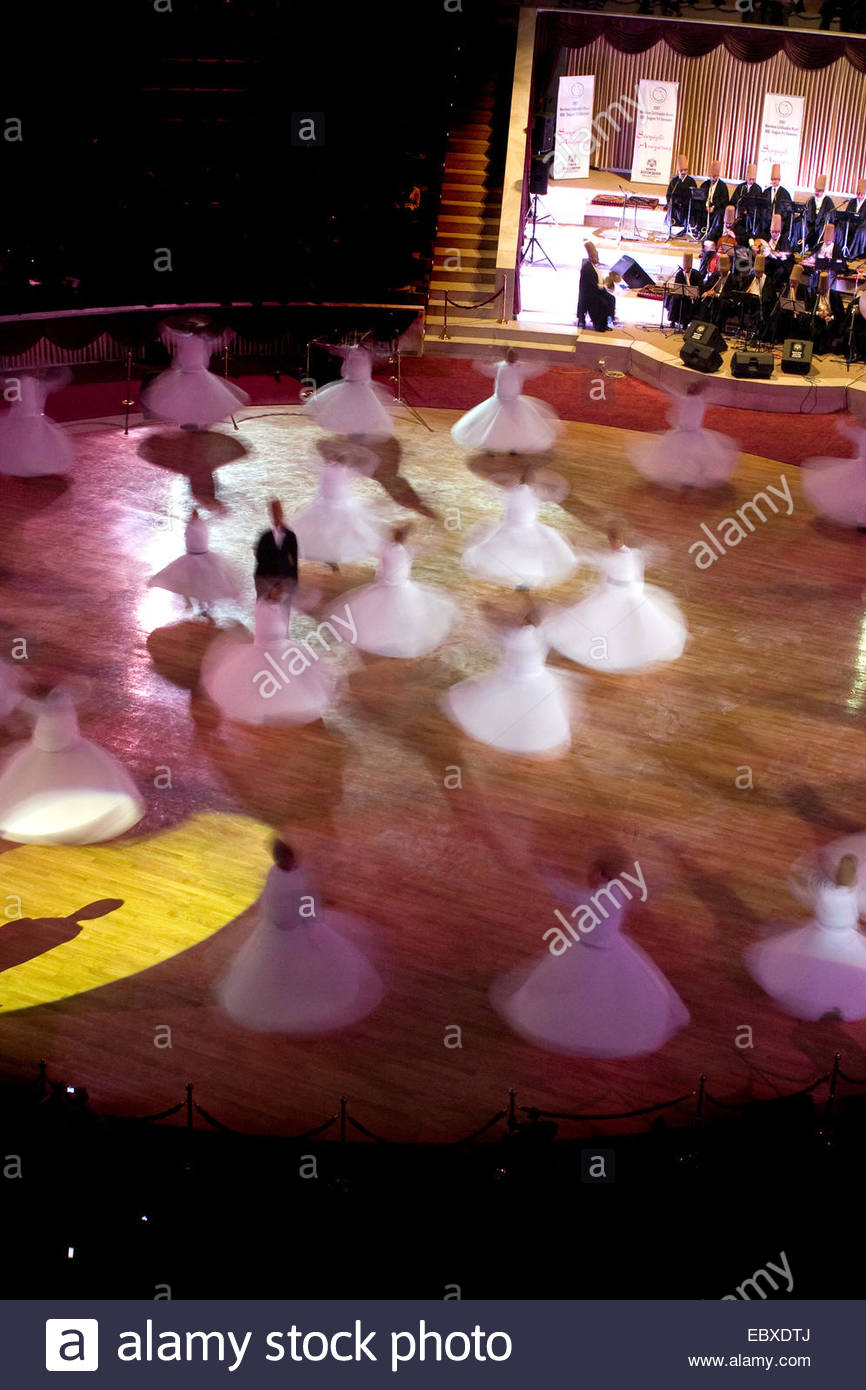 the whirling dervishes in Konya, Turkey during the Mevlana Festival which takes place every early December, Turkey - Stock Image