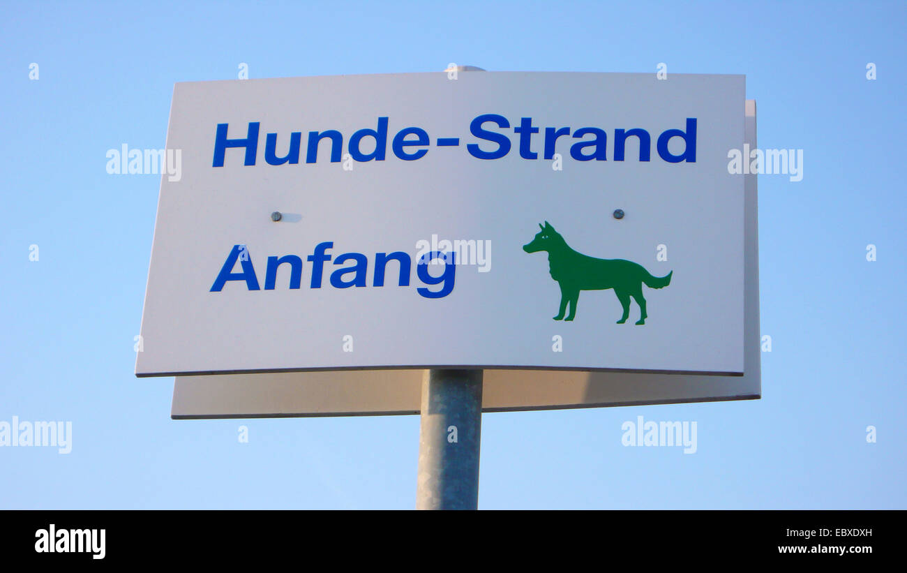 sign dogs permitted at the dog beach, Germany, Schleswig-Holstein - Stock Image