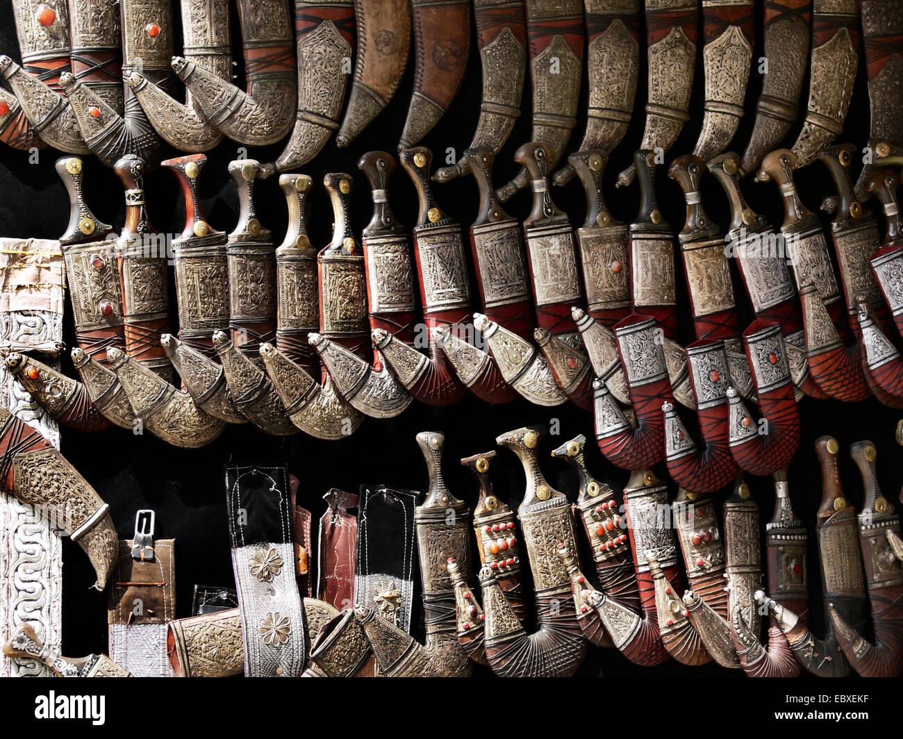shop with daggers, jambiyas, Yemen, Sanaa - Stock Image