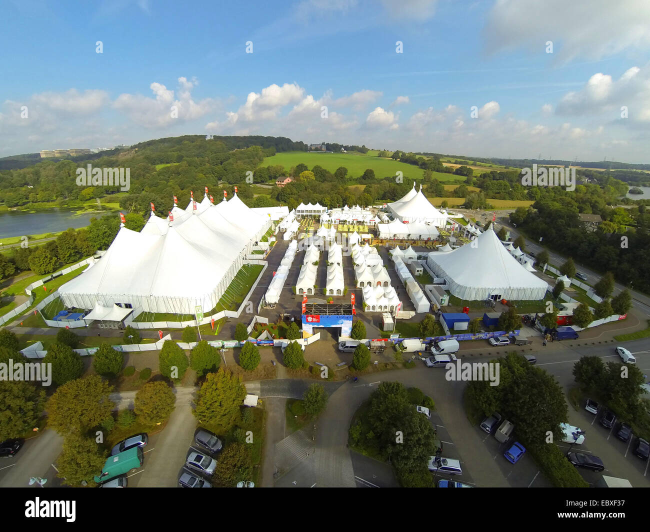 Zeltfestival Ruhr 2014 at Lake Kemnade, Ruhr-University in background, aerial view, Germany, North Rhine-Westphalia, - Stock Image
