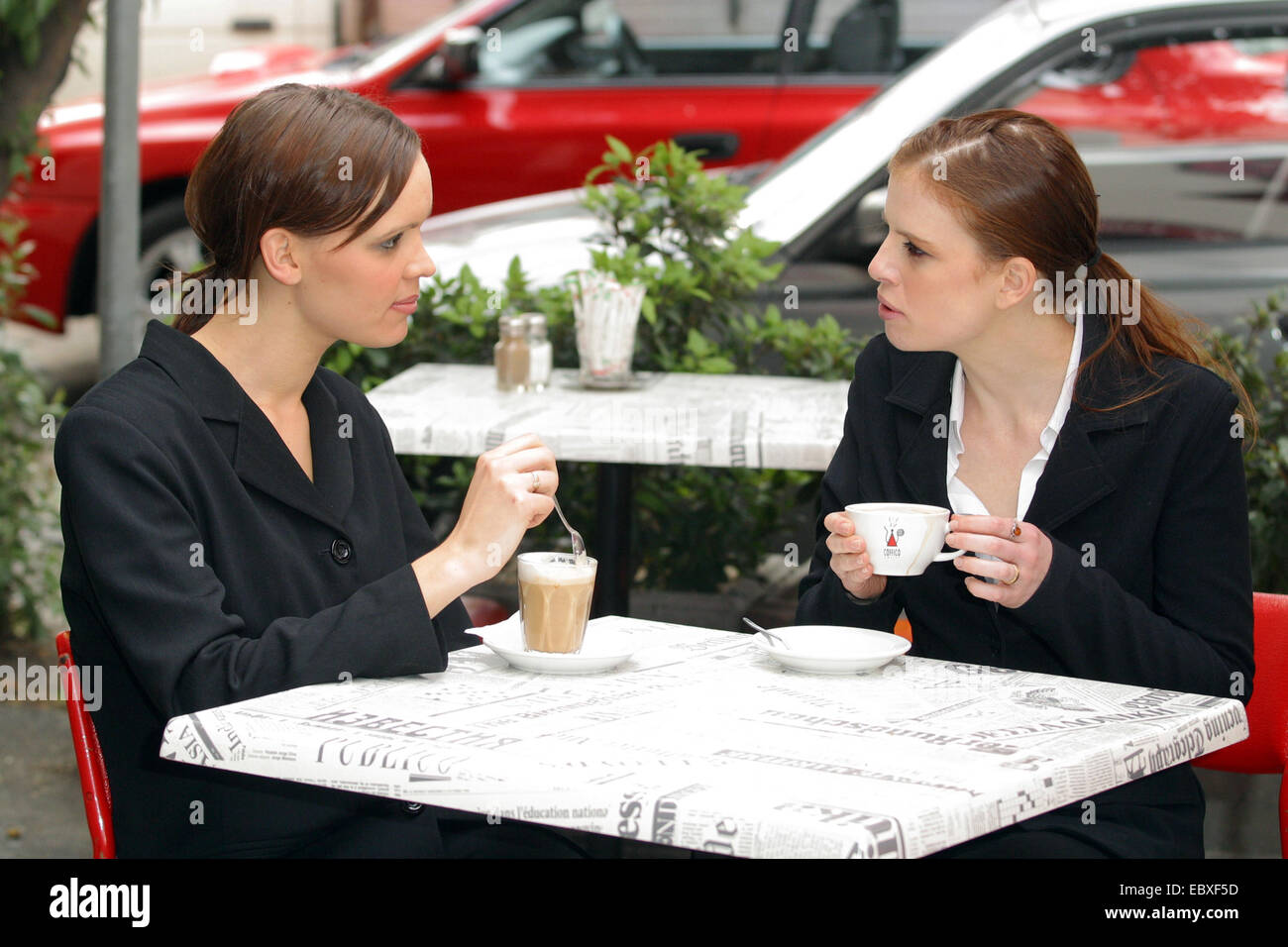 business meeting in cafe - Stock Image